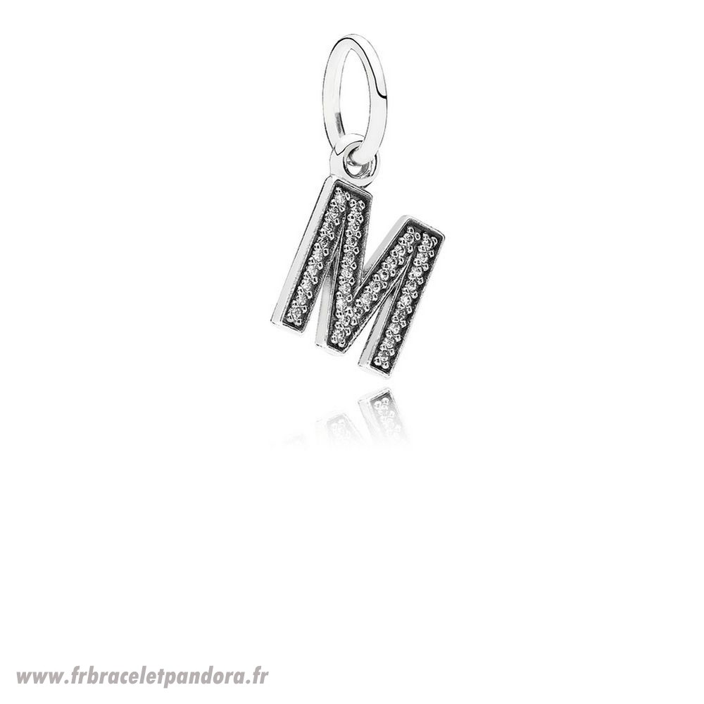 Original Pandora Alphabet Symbols Charms Lettre M Dangle Charm Clear Cz Bijoux Discount