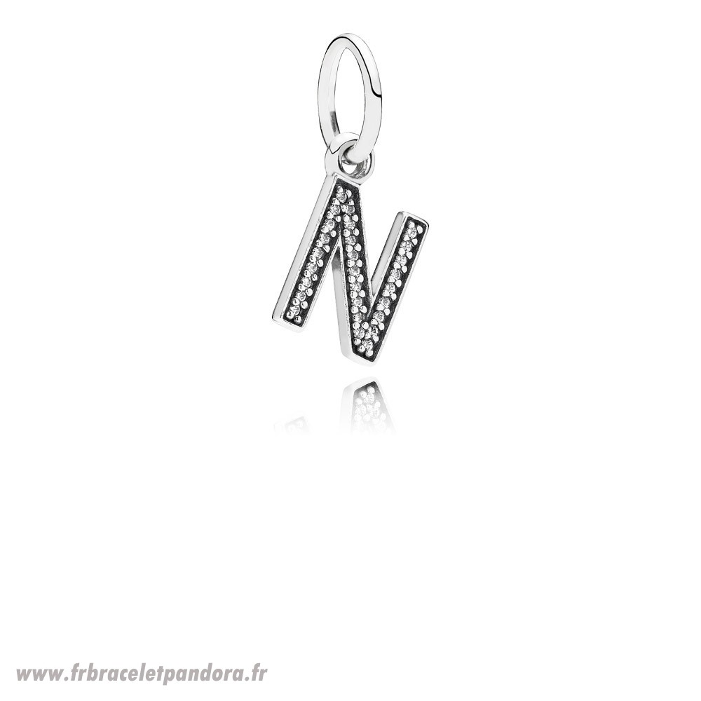 Original Pandora Alphabet Symbols Charms Lettre N Dangle Charm Clear Cz Bijoux Discount