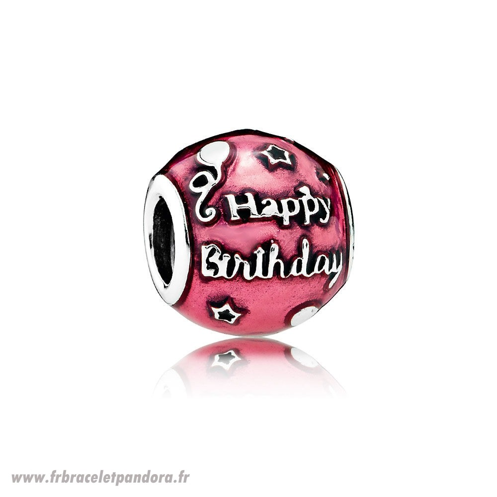 Original Anniversaire Celebration Charm Transparent Cerise Enamel Bijoux Discount