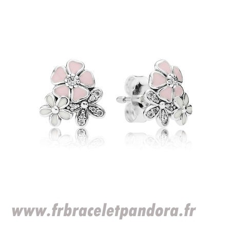 Original Pandora Boucles D'Oreilles Poetic Blooms Stud Mixed Emaux Clear Cz Bijoux Discount