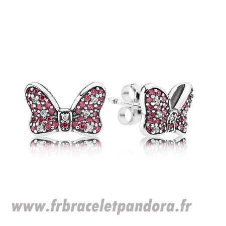 Original Pandora Boucles D'Oreilles Disney Minnie'S Sparkling Bow Stud Boucles D'Oreilles Red Clear Cz Bijoux Discount