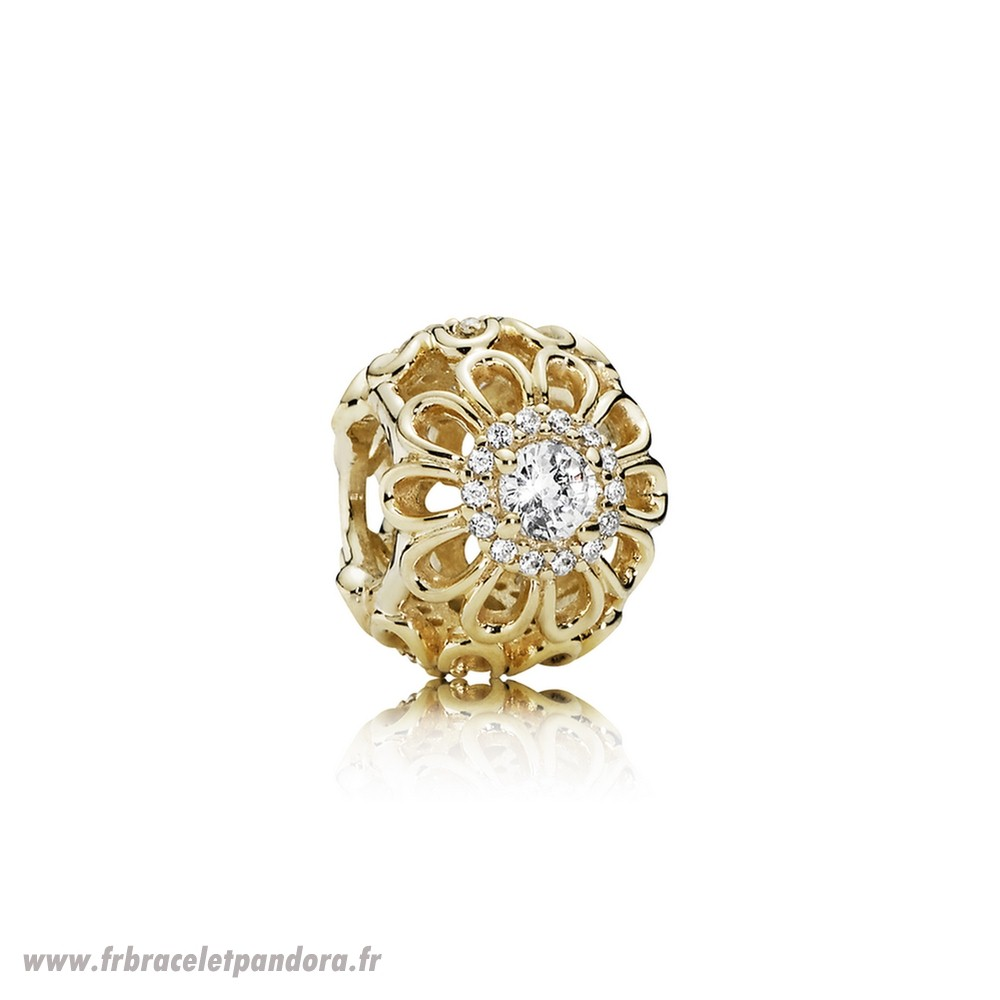 Original Pandora Nature Breloques Floral Brilliance Charm Clear Cz 14K Or Bijoux Discount