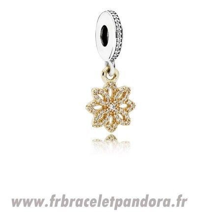 Original Pandora Nature Charms Dentelle Botanique Dangle Charm Clear Cz 14K Or Bijoux Discount