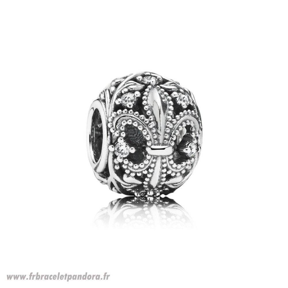 Original Pandora Nature Charms Fleur De Lis Clear Cz Bijoux Discount