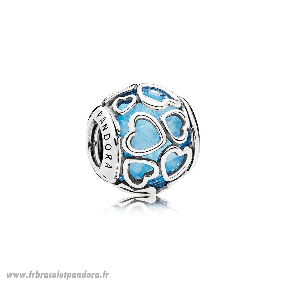Original Pandora Paillettes Paves Charms Encased In Amour Charm Sky Blue Crystal Bijoux Discount